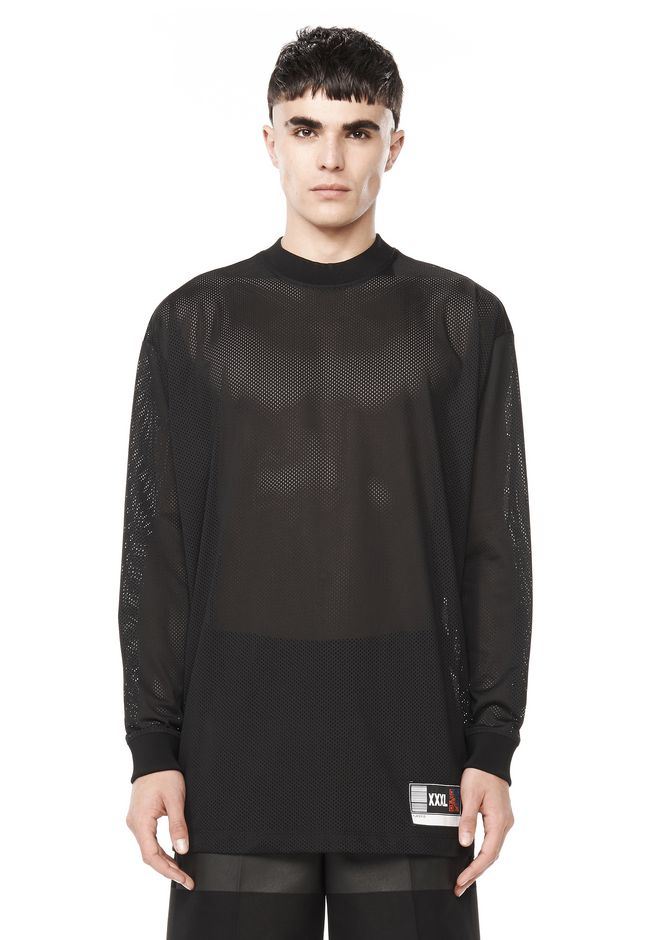 ALEXANDER WANG TOPS OVERSIZED MOCK NECK LONG SLEEVE JERSEY