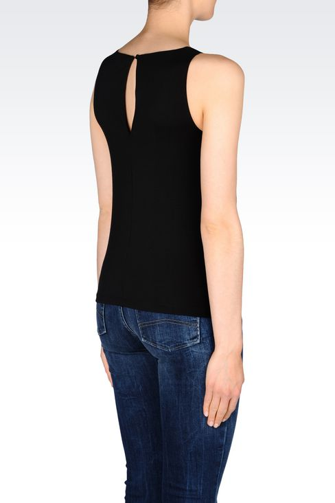 TOP IN INTERLOCK: Appliqué tops Women by Armani - 3