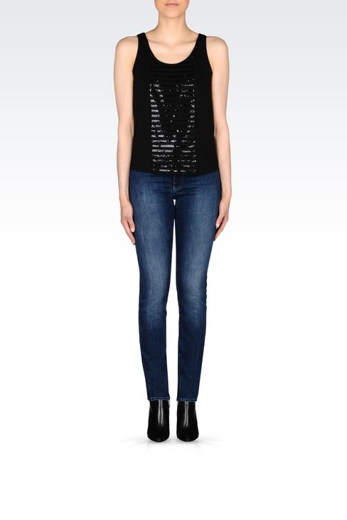 TOP IN INTERLOCK: Appliqué tops Women by Armani - 2