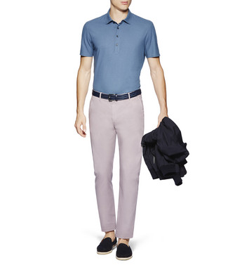 ERMENEGILDO ZEGNA: Short-Sleeved Polo Slate blue - 37872019AW