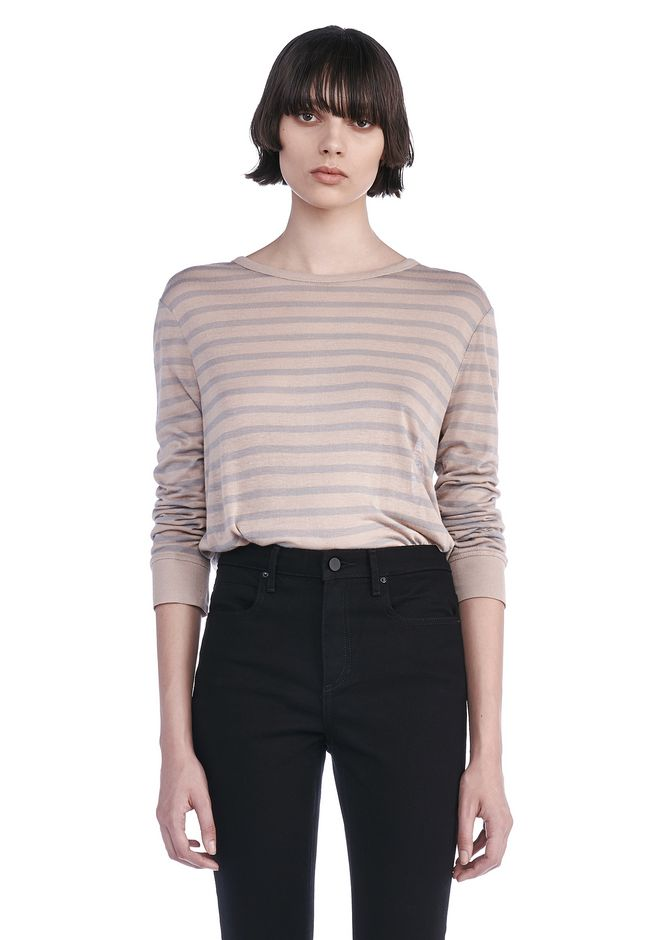 T by ALEXANDER WANG TOPS Women STRIPE LINEN LONG SLEEVE