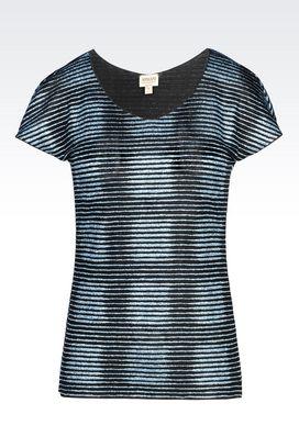 Armani Print t-shirts Women jersey t-shirt with glitter print