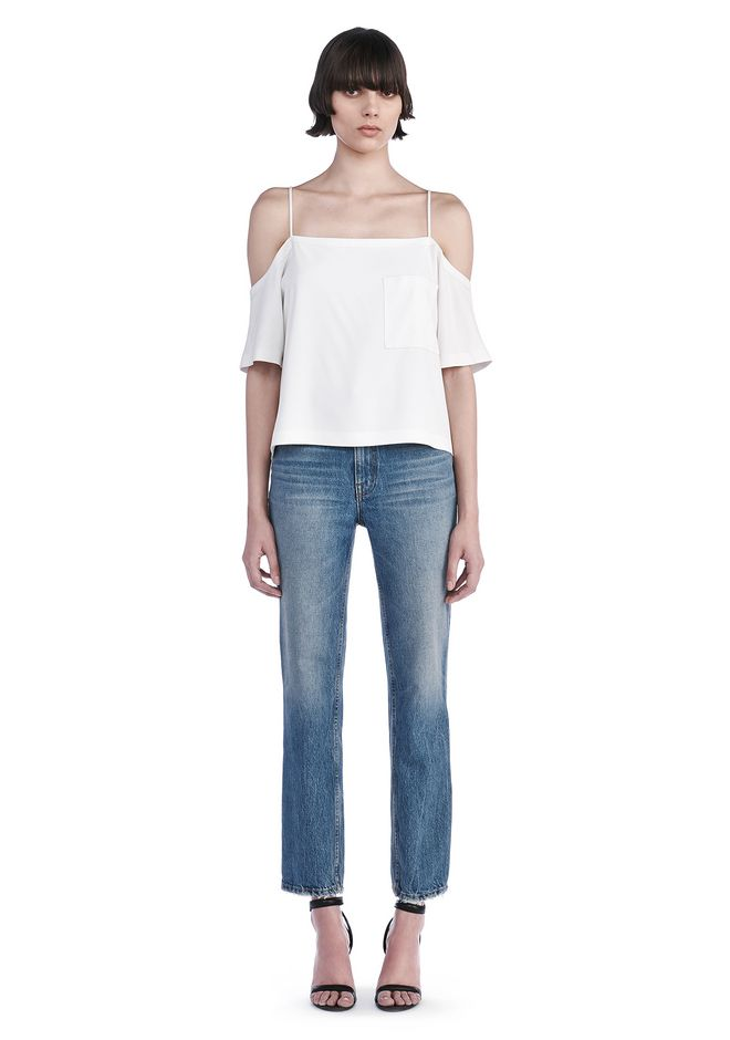 T by ALEXANDER WANG new-arrivals POLY CREPE OFF THE SHOULDER TOP