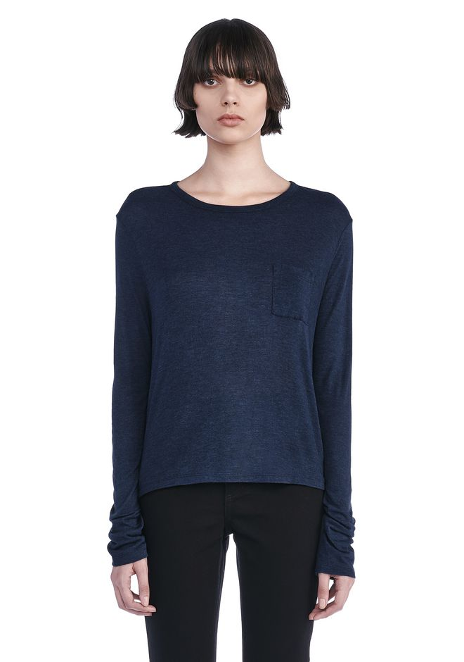 T by ALEXANDER WANG TOPS Women CLASSIC LONG SLEEVE TEE WITH POCKET