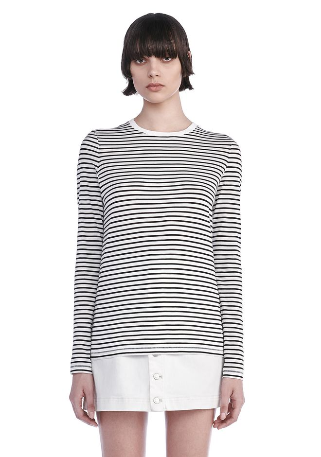 T by ALEXANDER WANG TOPS Women SUPERFINE COTTON LONG SLEEVE TEE