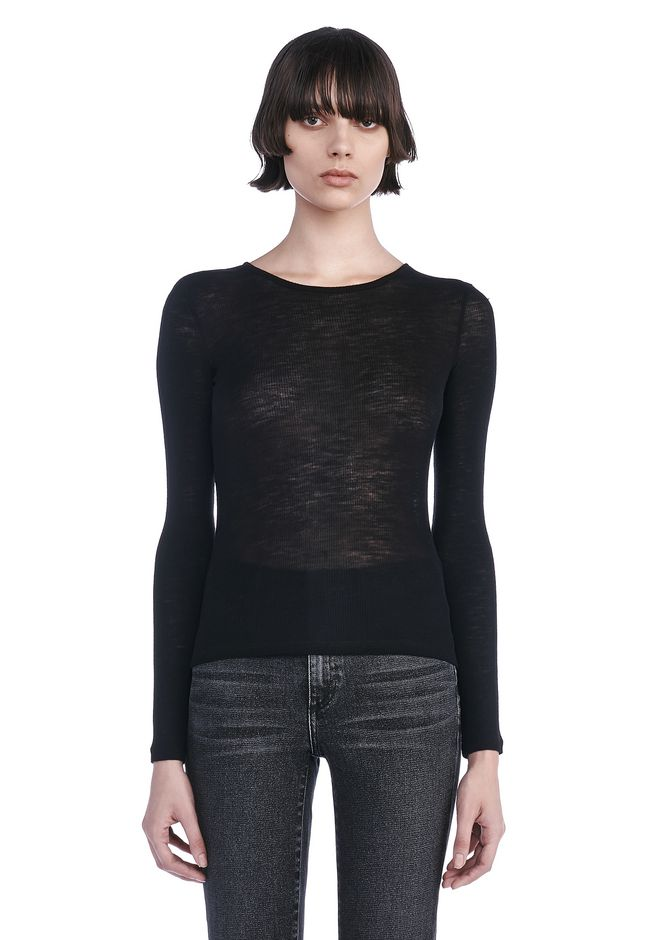 T by ALEXANDER WANG TOPS Women SHEER WOOLY RIB CREW NECK LONG SLEEVE