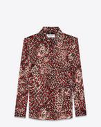 chemise à col paris en georgette de soie à imprimé léopard coquille, rouge et noir