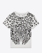 Classic Short Sleeve T-Shirt in Ivory and Black Leopard Printed Cotton Jersey and Red Crystals