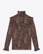 Blusa Folk multicolore Paisley vintage in crêpe di viscosa