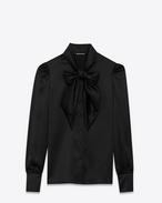 blouse lavallière en soie noire
