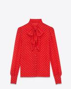 Lavalliere-Bluse aus roter und goldfarbener Seide