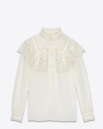 70's Folk Blouse in Ivory Cotton Gauze and Silk