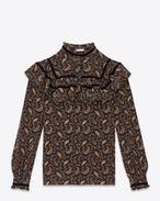 Blusa 70's Folk nera e oro in crêpe di seta con stampa paisley