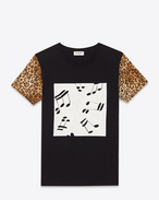Classic Short Sleeve T-Shirt in Black, Ivory and Brown Musical Note and Leopard Printed Cotton Jersey
