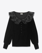 Blusa con collo plissé nera in velours cupro