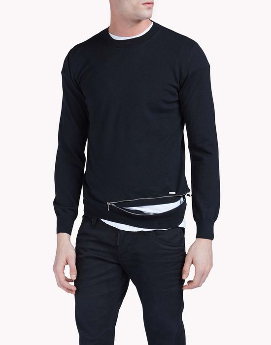zipped crew neck pullover 上衣&t恤 男 Dsquared2