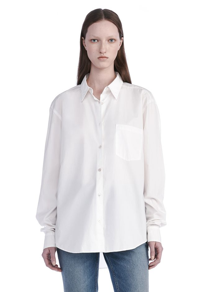 T by ALEXANDER WANG TOPS Women GARMENT DYED COTTON POPLIN SHIRT