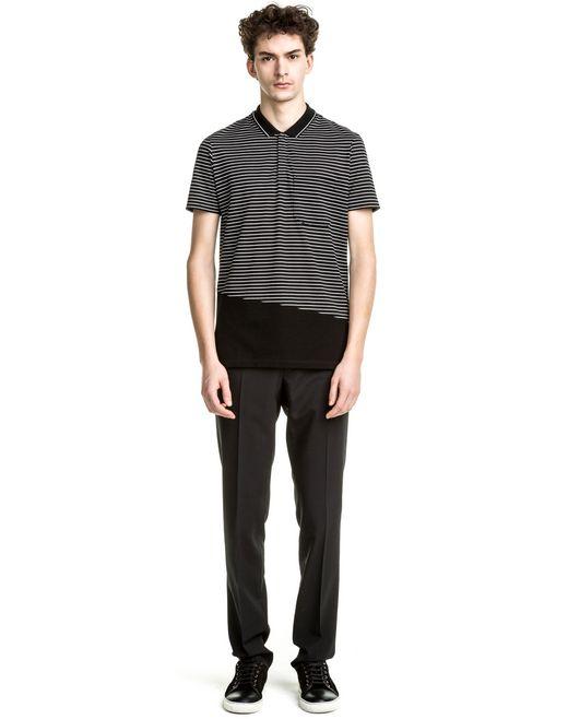 lanvin black & white slim fit polo shirt  men