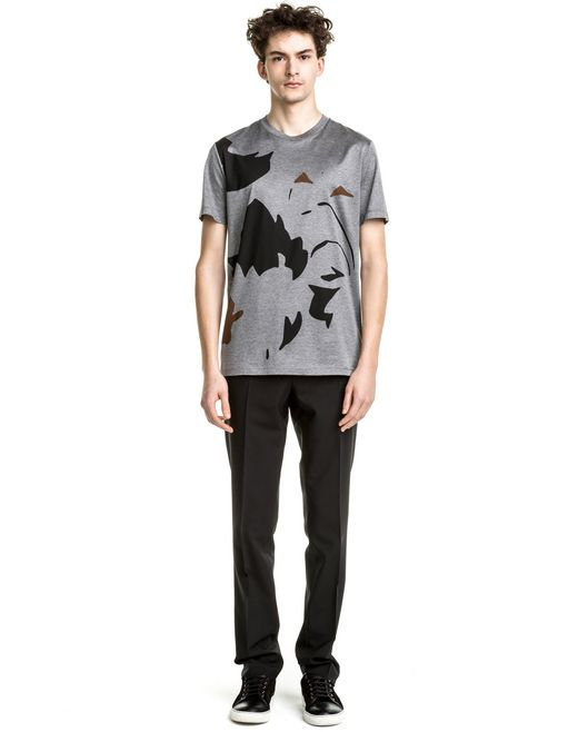 "lanvin slim fit grey ""oversized flowers"" t-shirt men"