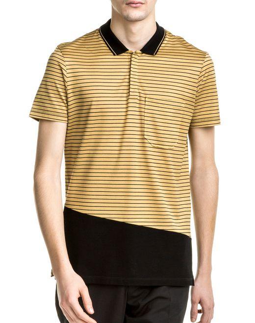 lanvin black & yellow slim fit polo shirt  men