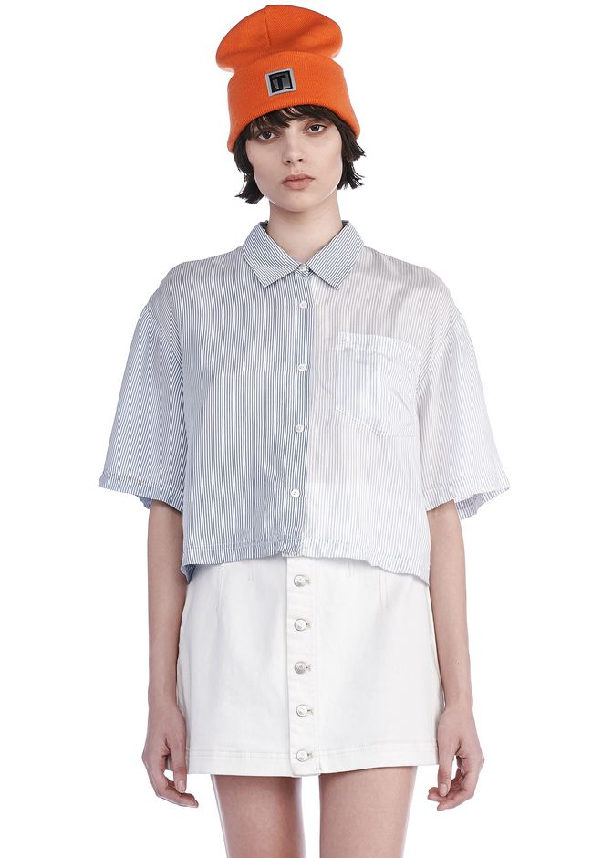 T by ALEXANDER WANG TOPS Women WASHED STRIPE VISCOSE COLLARED SHORT SLEEVE SHIRT