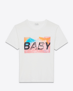"special project ""baby"" short sleeve t-shirt in white and multicolor printed cotton"