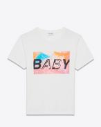"""t-shirt special project """"baby"""" a maniche corte bianca e multicolore in cotone stampato"""