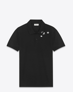 Classic Polo shirt in Black and White Star Printed Piqué Cotton