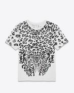T-Shirt PUNK ROCK a maniche corte avorio e nera in jersey di cotone con stampa Leopard e cristalli rossi