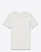 t-shirt surf a maniche corte avorio e nera in jersey di cotone con stampa sl musical notes