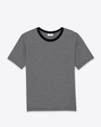 T-shirt à manches courtes en jersey de coton à rayures pasadena noires et gris chiné