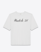 "special projects surf ""watch it"" t-shirt in vintage ivory and black cotton jersey"