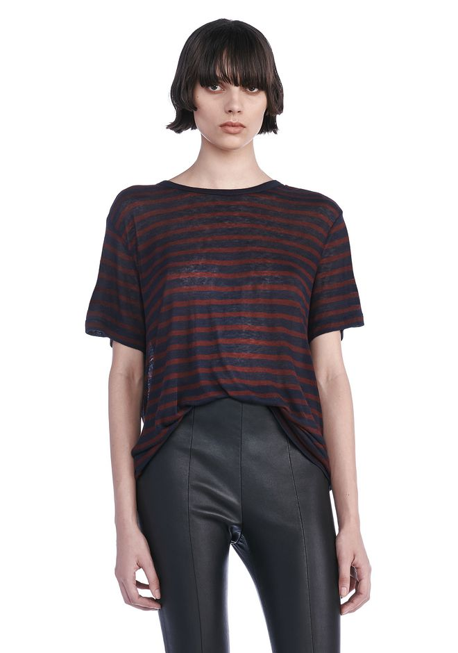 T by ALEXANDER WANG TOPS Women STRIPE RAYON LINEN SHORTSLEEVE TEE