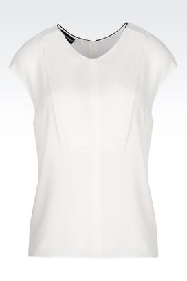 Armani Short-sleeved tops Women top in sand silk blend