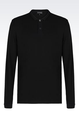 Armani Long-sleeved polo shirts Men polo shirt in cotton pique