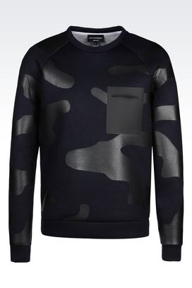 Armani Sweatshirts Men runway sweatshirt in camouflage neoprene