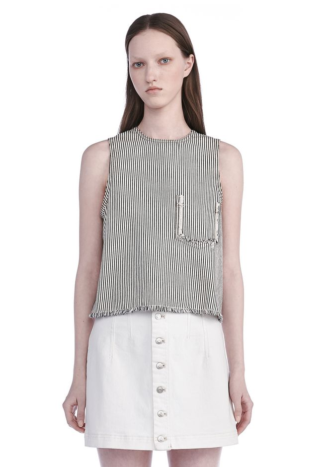 T by ALEXANDER WANG TOPS Women FRAYED STRIPED TANK TOP
