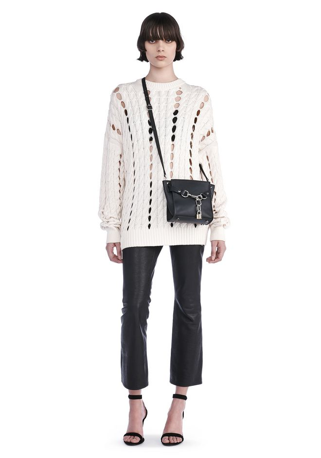 ALEXANDER WANG TOPS CABLE KNIT PULLOVER WITH INTARSIA SLITS