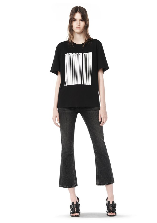 ALEXANDER WANG TOPS BOXY T-SHIRT WITH PRINTED BARCODE