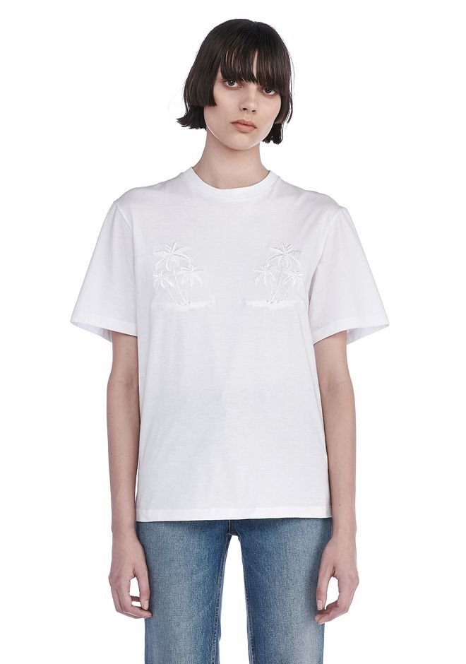 ALEXANDER WANG TOPS Women CREWNECK T-SHIRT WITH ENGINEERED EMBROIDERY