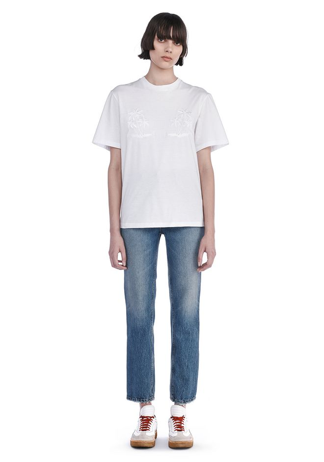 ALEXANDER WANG TOPS CREWNECK T-SHIRT WITH ENGINEERED EMBROIDERY