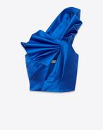 Bustier noué en soie bleue cobalt