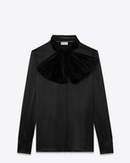 Lavaliere Bow Blouse in Black Silk Satin Crêpe