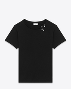 Short Sleeve Tears T-Shirt in Black and Silver Printed Cotton Jersey