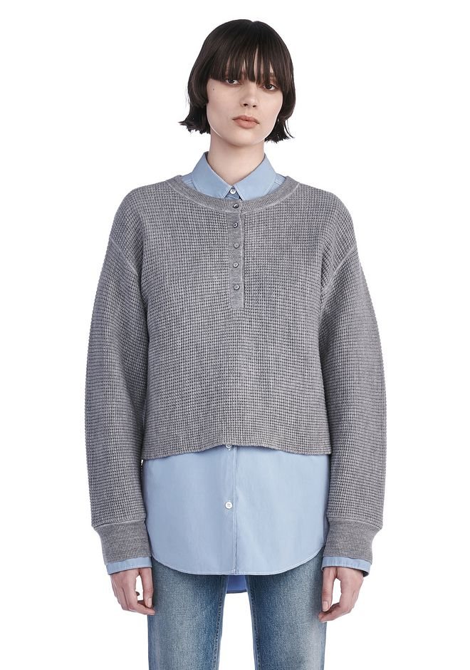 T by ALEXANDER WANG TOPS Women WAFFLE KNIT HENLEY PULLOVER