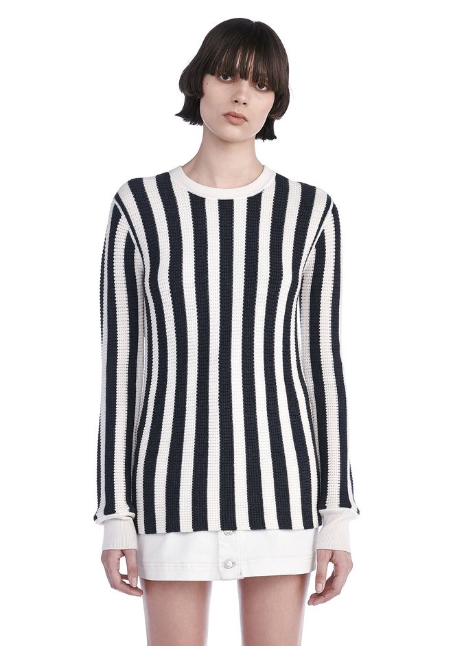 T by ALEXANDER WANG TOPS Women STRIPED WAFFLE KNIT PULLOVER