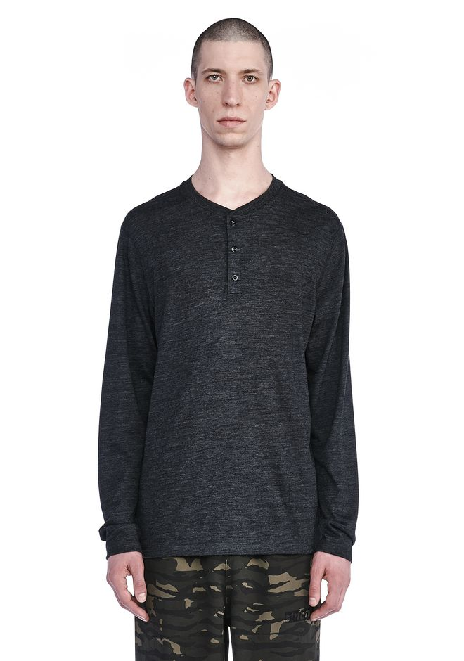 T by ALEXANDER WANG TOPS Men LONG SLEEVE HENLEY