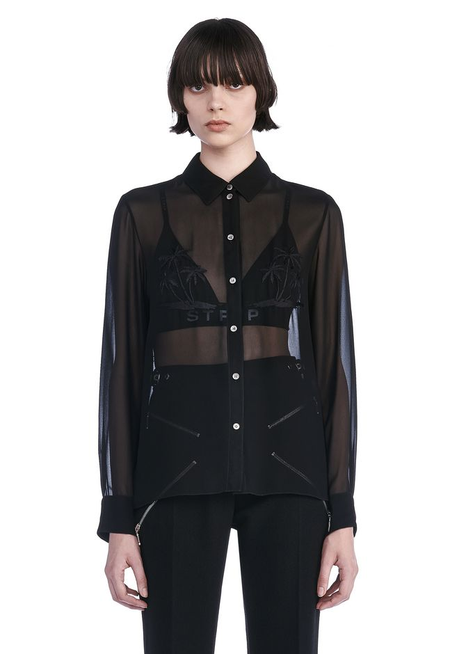 ALEXANDER WANG TOPS Women COLLARED SHEER SHIRT WITH ENGINEERED EMBROIDERY