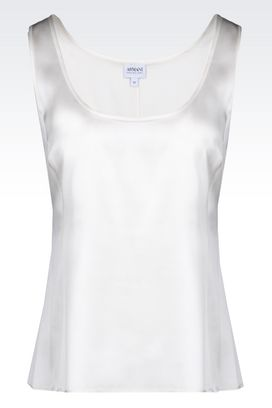 Armani Top senza maniche Donna top in raso stretch