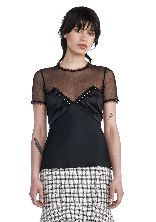 ALEXANDER WANG TOPS Women SHORT SLEEVE TOP WITH RUCHED INSERTED BALL STUDS